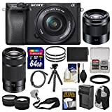 Sony Alpha A6300 4K Wi-Fi Digital Camera & 16-50mm, 55-210mm, & 50mm Lenses (Black) with 64GB Card + Case + Battery & Charger + Flex Tripod + Kit