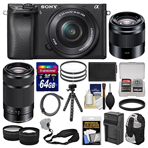 Sony Alpha A6300 4K Wi-Fi Digital Camera & 16-50mm, 55-210mm, & 50mm Lenses (Black) with 64GB Card + Case + Battery & Charger + Flex Tripod + Kit by Sony