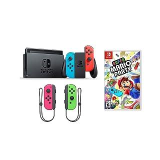 Nintendo Switch Super Mario Party Joy-Con Bundle: Super Mario Party, Nintendo Switch 32 GB Console with Neon Read and Blue Joy-Con with Extra Neon Pink and Green Joy-Con