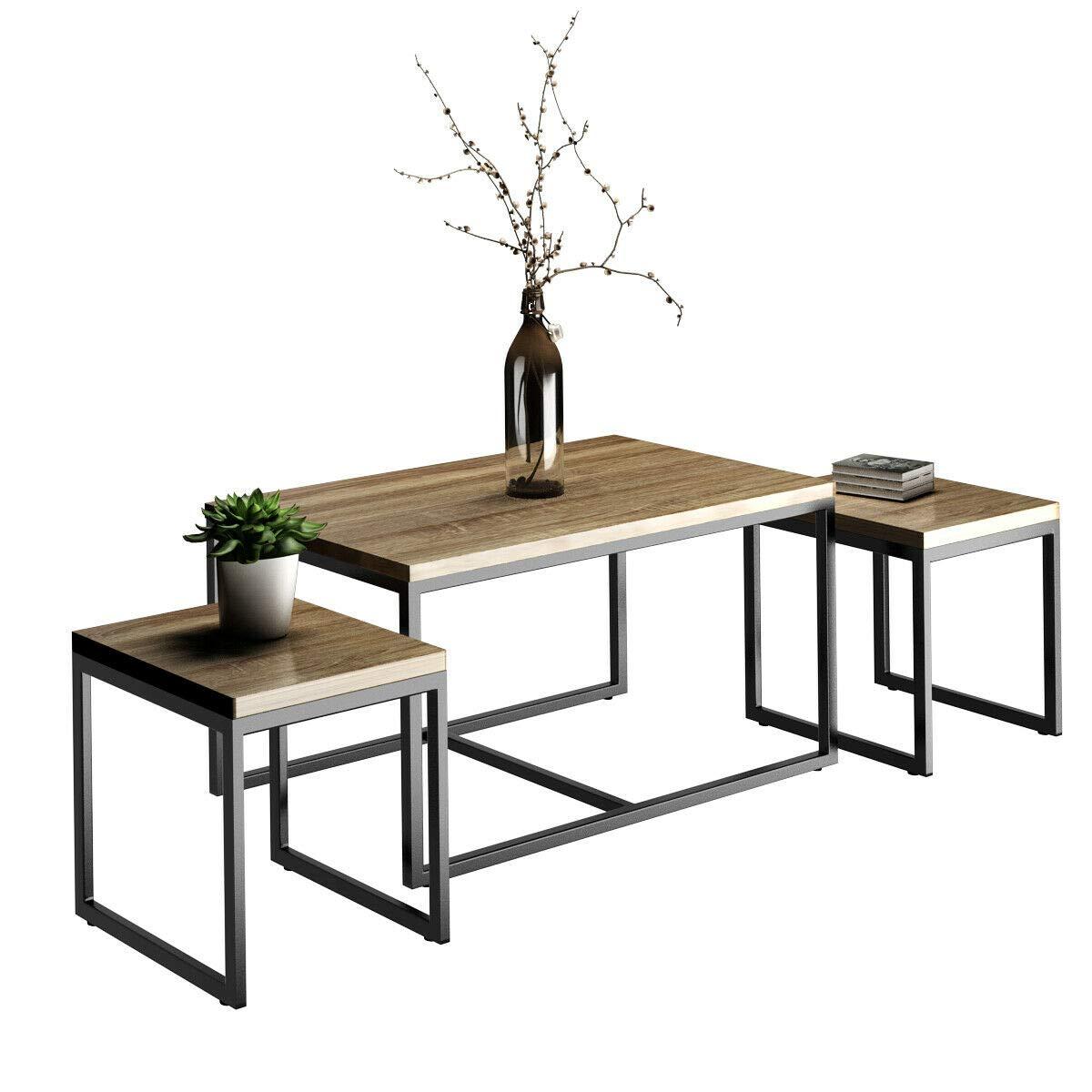 Giantex 3 Piece Nesting Coffee & End Table Set Wood Modern Living Room Furniture Decor