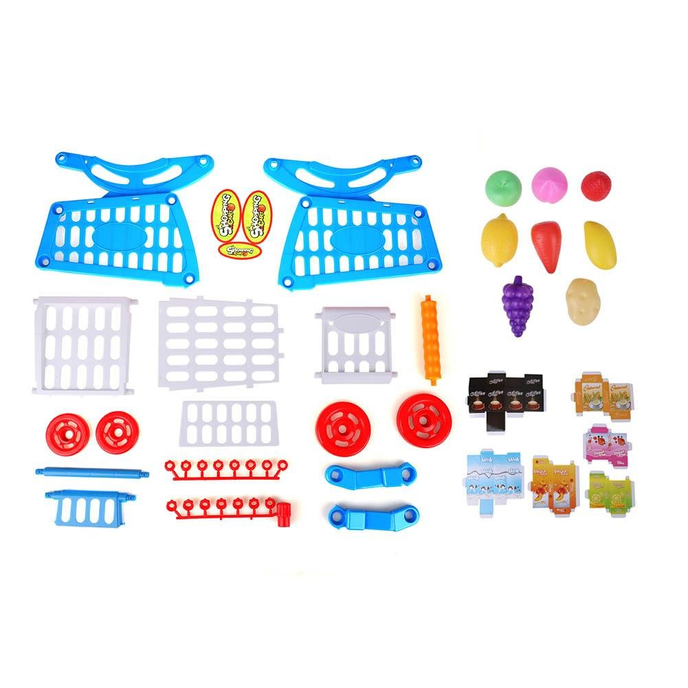 Kids Shopping Cart Precious Toys Kids Toddlers Pretend Role Play Food Fruits Playing Game with Groceries(Blue with Food) by Fdit (Image #3)