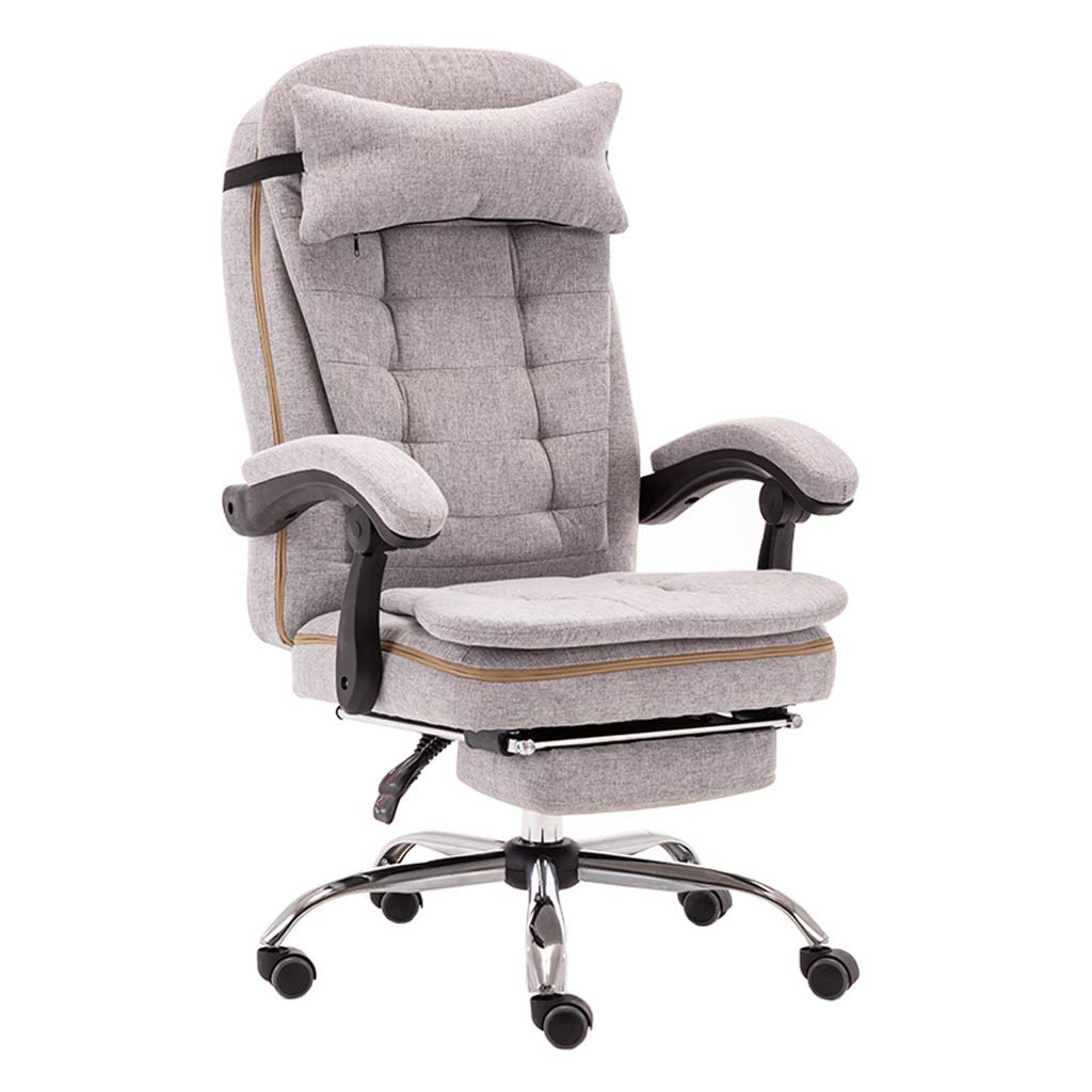 Ergonomic Office Recliner Chair High-Back Desk Chair with Lumbar Support Height Adjustable Seat Headrest Textile Linen with Retractable Footrest