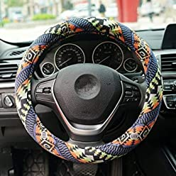 amazon com 16sixteen stores16sixteen universal 15inch coarse flax cloth steering wheel cover ethnic style memory foam ultra soft