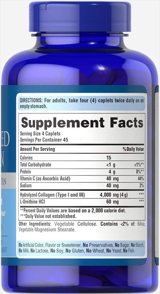 Puritans Pride Hydrolyzed Collagen 1000 Mg Caplets, 180 Count