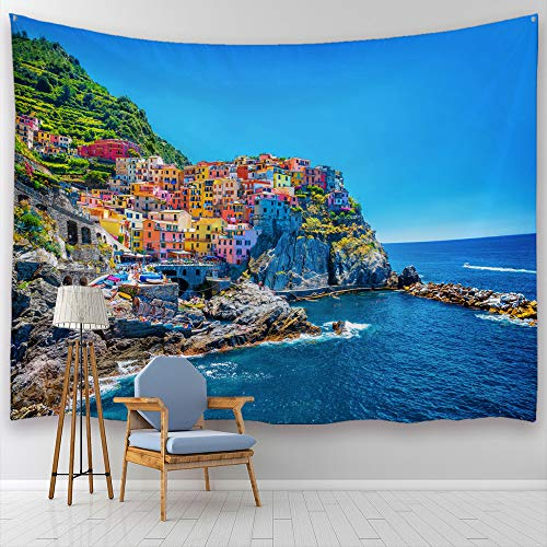 (Baccessor European Cityscape Tapestry Wall Hanging The Italian Venice Colorful Buildings by Cliffs Island Summer Beach Scenic View Tapestry,90