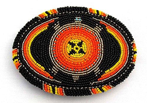 Black Genuine Buckle Belt (Viva Red Black Orange Seed Beaded Turtle Beadwork Pattern Belt Buckle Handmade X15008)