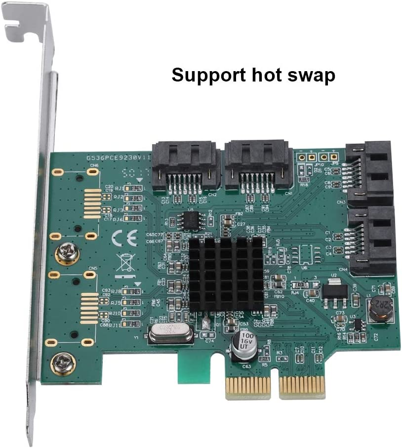 4-Port PCI-E RAID Controller Card,with Fast and Stable Signal 6Gbps Wendry SATA3 PCI-E to SATA3.0 Expansion Card,SATA III