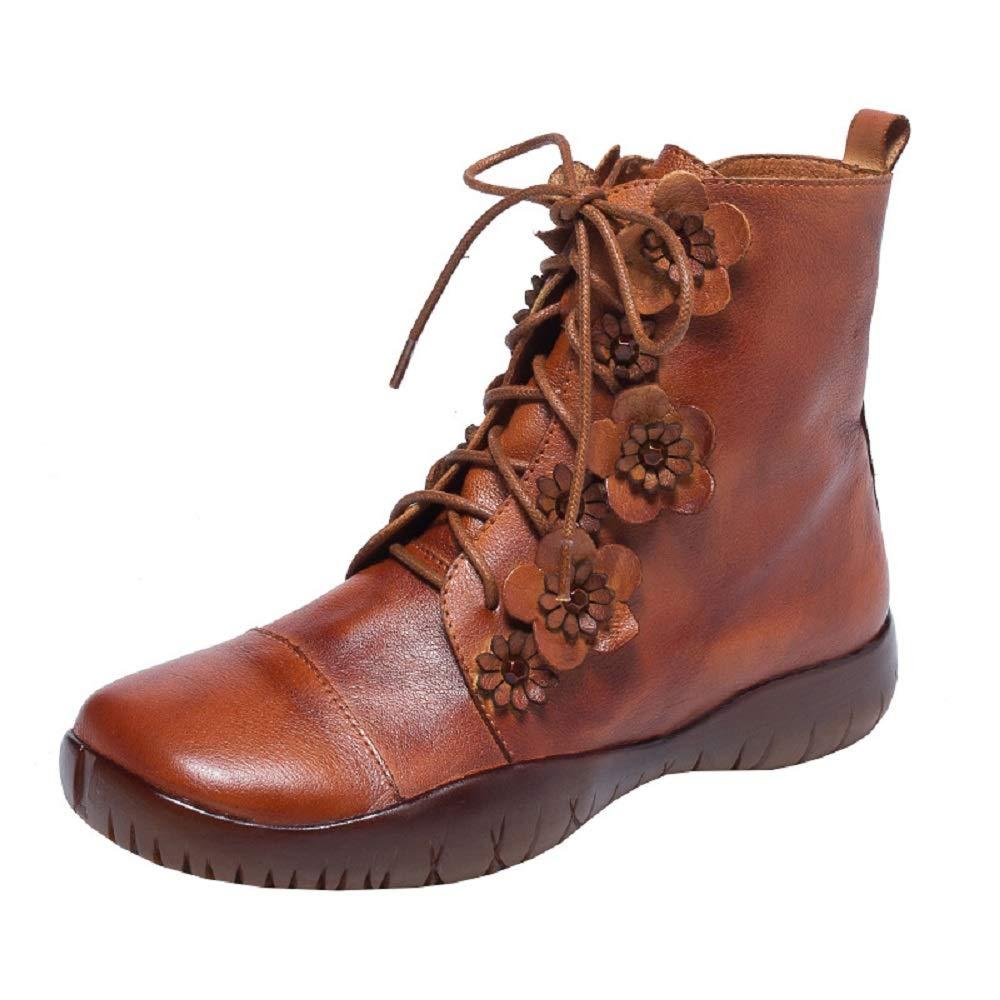 ZHRUI Frauen Stiefel Leder Blaume Reißverschluss Flach Lace up Comfort Schuhe (Farbe   Braun, Größe   EU 38)  | Hohe Sicherheit