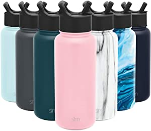 Simple Modern 32 oz Summit Water Bottle with Straw Lid - Gifts for Men & Women Hydro Vacuum Insulated Tumbler Flask Double Wall Liter - 18/8 Stainless Steel -Blush