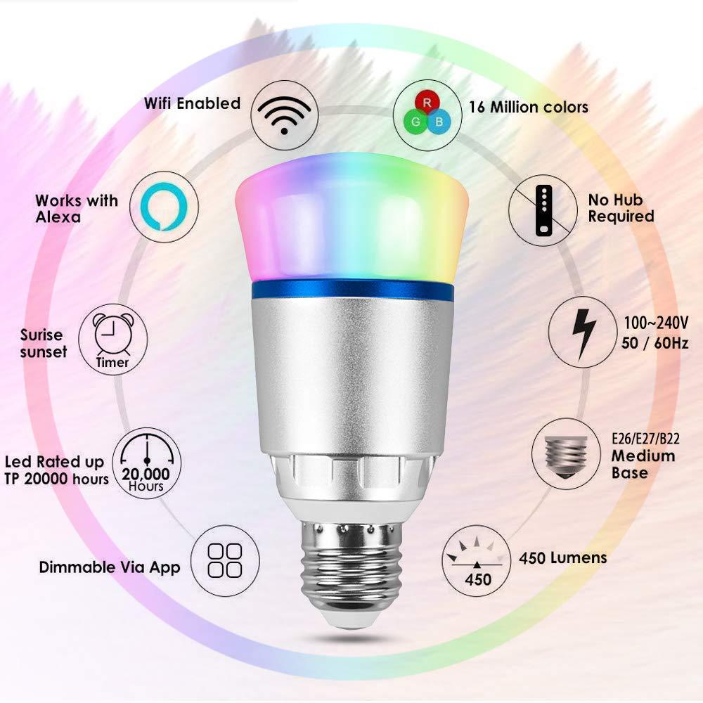 Bombillas wifi inteligentes, luz led RGB regulable de 10 vatios Funciona con Amazon Alexa Echo y Google Home, bombilla led inteligente controlada por IOS y ...
