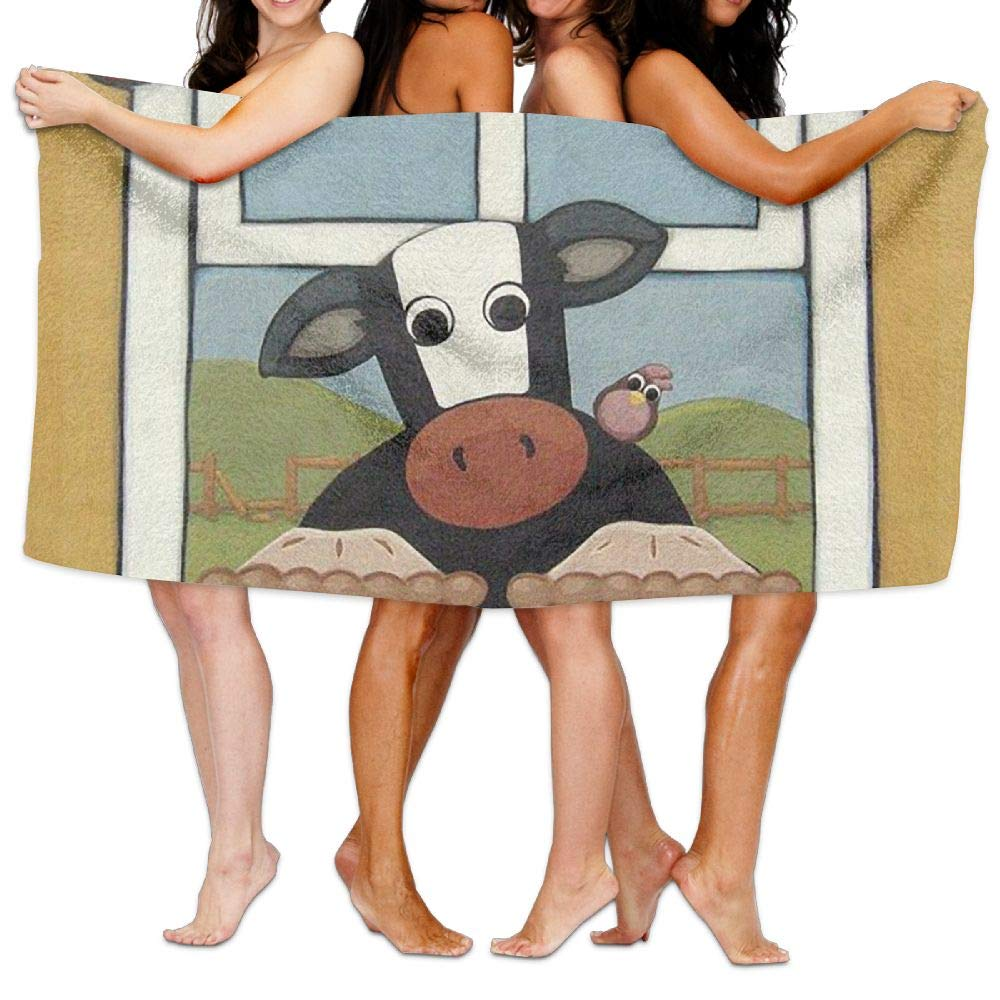 ZMLSJY Bath Towel The Cow is in Front of The Window Large Bath Towel High Absorbency for Home Hotel Spa 30 X 56 Inches