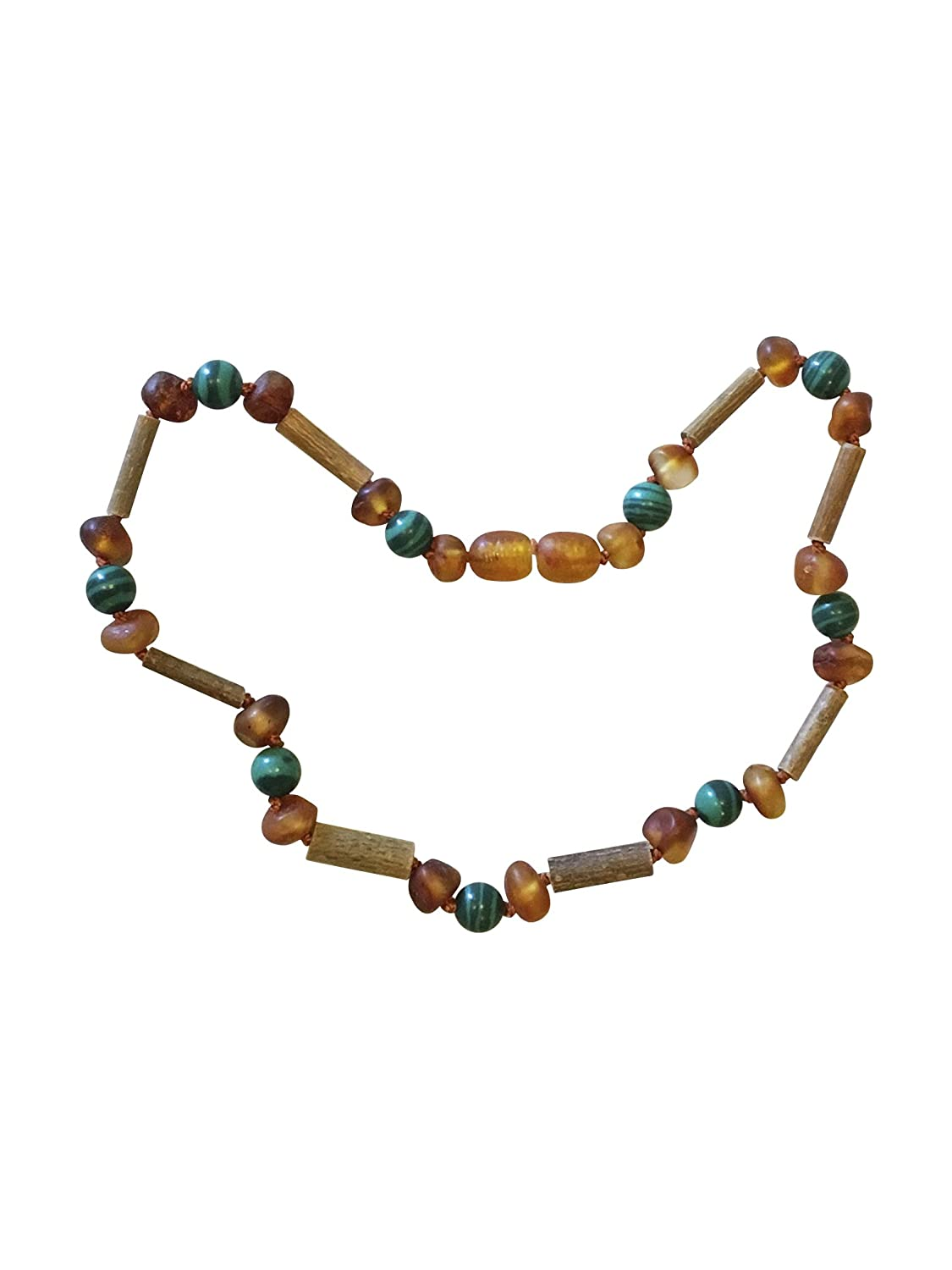 Baltic Amber and Hazelwood Necklace. Colic, Reflux and Teething. Individually Knotted. for Babies and Toddlers. (Blue Gemstones/Hazelwood) Umai