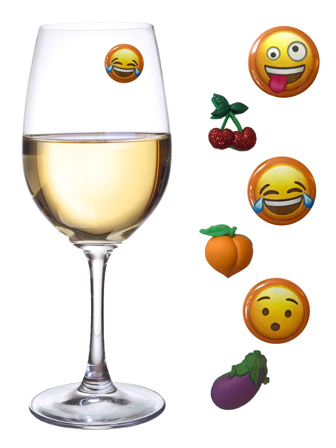 Emoji Wine Charms Set of 6 Glass Markers or Tags by Simply Charmed New Addition with Eggplant Peach and Cherries