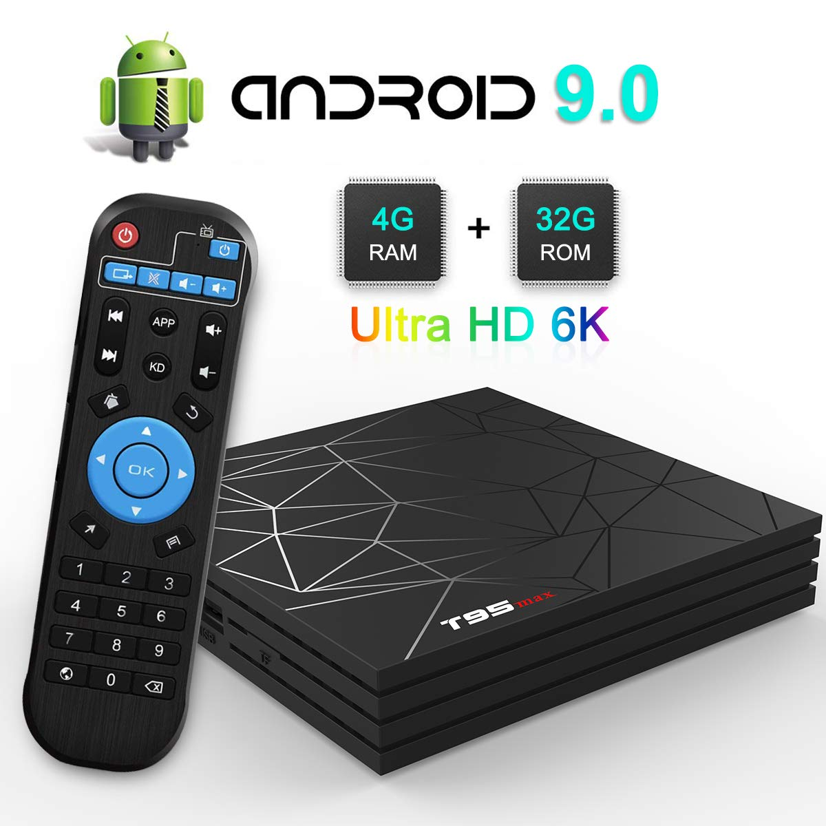TV Box, TUREWELL T95 Max Android 9.0 TV Box Chip H6 Quad-core Cortex-A53 4GB RAM 32GB ROM Smart TV Box Support 3D 6K Ultra HD H.265 2.4GHz WiFi Ethernet HDMI [2019 Newest] by TUREWELL