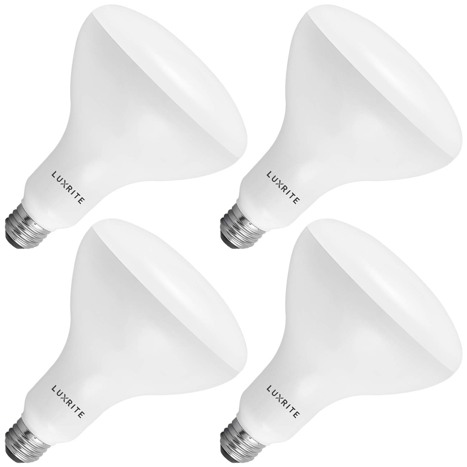Luxrite BR40 LED Light Bulbs, 85W Equivalent, 3500K Natural White, Dimmable, 1100 Lumens, LED Flood Light Bulb, 14W, E26 Medium Base, Indoor/Outdoor - Perfect for Office and Recessed Lighting (4-Pack)
