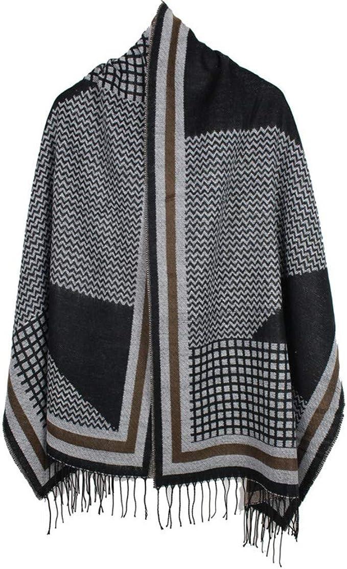 TALLA 190. AiNaMei Bufanda de doble cara de cachemira cálida de otoño e invierno para hombres y mujeres