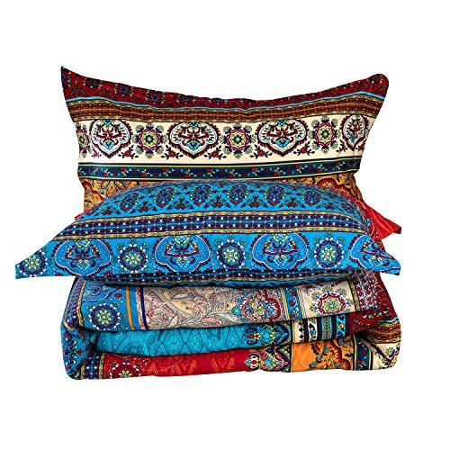 YOU SA 3Pcs Bohemian Comforter Set 100% Cotton Fabric with Soft Microfiber Fill Bedding Boho Bedding (Queen,01)