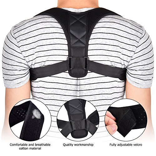 Neutral Posture Leather Chair (Huimu Adjustable Back Posture Corrector & Clavicle Brace to Improve Bad Shoulder Postures, Prevent the Hunchback of Long Sitting in Front of the Computer)