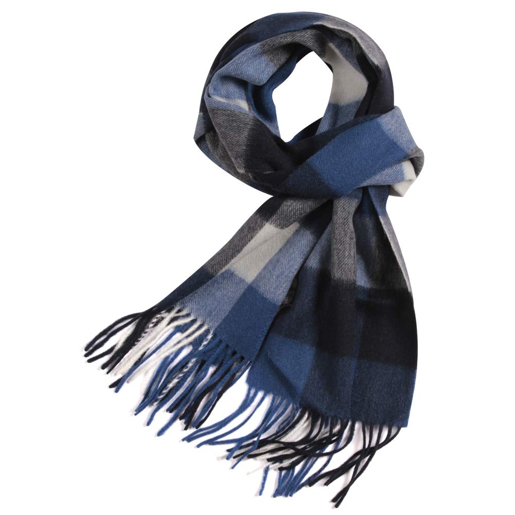 Winter Wool Scarves for Men, WAMSOFT Unisex Plaid Warm Fashion Scarfs Plaid Scarf for Men FDS012