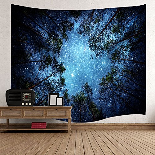 Gemostore 3D Forest Starry Sky Tapestry Wall Art India Hippy Bohemian Mandala Hanging Tapestry for Living Roon Bedroom by Gemostore (Image #2)