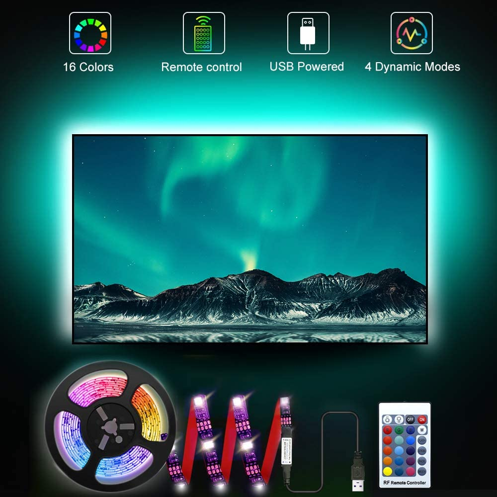 RGB LED TV Strip Backlights, 6.56ft Bias Lighting for 30-40'' TV, with 16 Colors and 4 Dynamic Modes Remote Controller, 5V USB Powered, Designed for HDTV, Desktop PC and Home Theater.