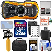 Ricoh WG-50 Waterproof / Shockproof Digital Camera (Orange) with 32GB Card + Battery & Charger + Diving LED Video Light + Buoy Handle + Case Kit
