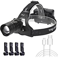Headlamp LED Rechargeable XHP50 Chip Super Bright Headlight with Battery and USB Cable Charger 3 Modes Zoomable Head…
