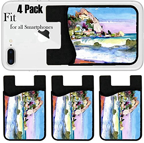 Liili Phone Card holder sleeve/wallet for iPhone Samsung Android and all smartphones with removable microfiber screen cleaner Silicone card Caddy(4 Pack) IMAGE ID: 19341445 original watercolor painti -