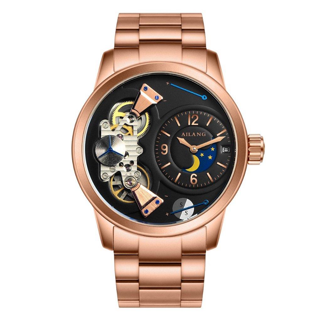 ailangステンレススチールLuxury Men 's TourbillonカレンダーMechanical Wrist Watch al-5811s Golden bezel / Black dial B0721CWZV2 Golden bezel / Black dial Golden bezel / Black dial
