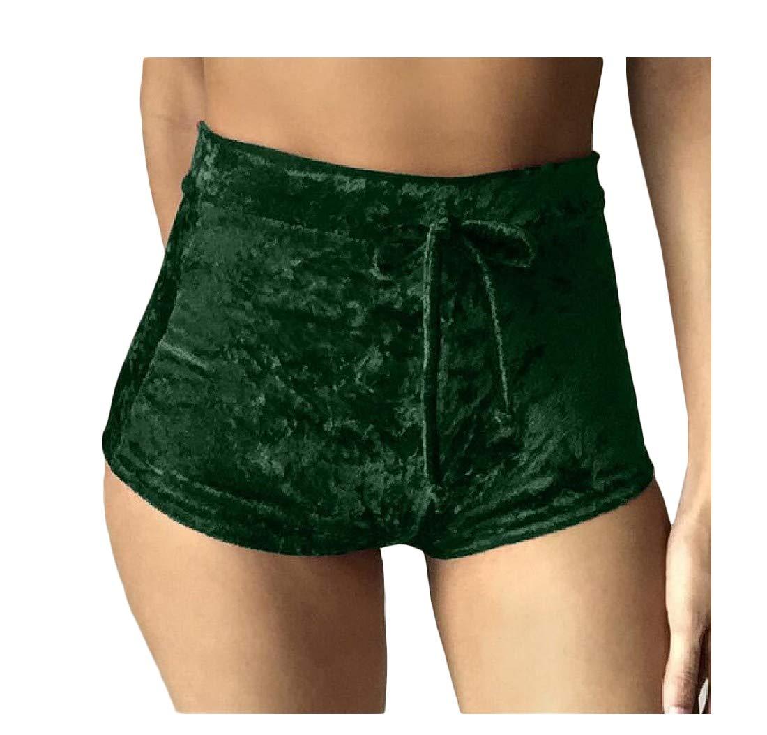Wofupowga Womens Elastic Waist Slim Fit Drawstring Sport Sexy Ruched Short Green XS