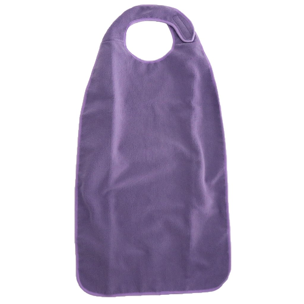 MagiDeal Large Waterproof Washable Adult Terry Cloth Mealtime Bib Apron Clothing Protector for Elders Disabilities Patients 18''x34'' - Purple