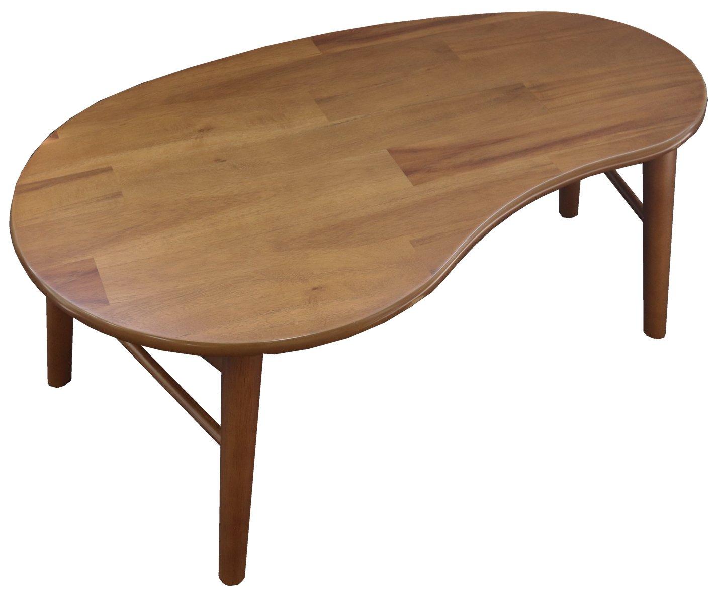 ヤマソロ ローテーブルちゃぶ台 ブラウン 幅85×奥行53.5×高さ34cm ブリッキー 豆型 82-661 B077TYFDWP