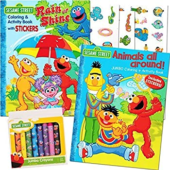 sesame street coloring book super set with sesame street crayons 2 coloring books