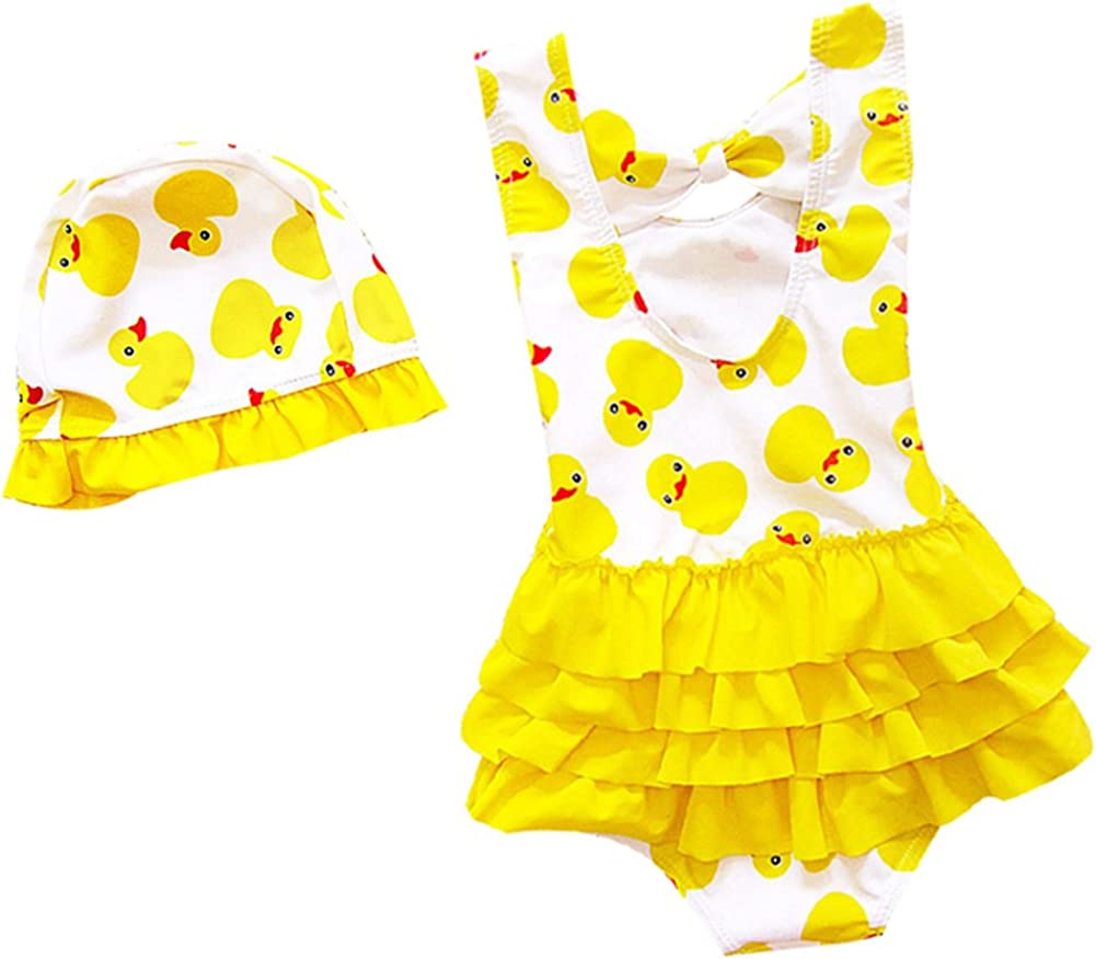 sshybmne Baby Toddler Girls One Piece Swimsuit Bikini Summer Beach Tankini Dinosaur Ruffle Bathing Suit Swimwear 1-5T