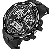 Mens Sport Watches Digital Military Large Face Stopwatch Waterproof LED Alarm Boys