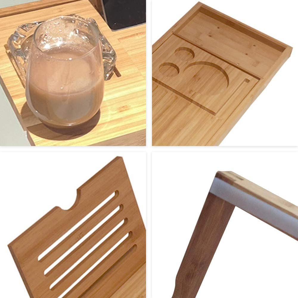 Great Gift Idea for Loved Ones Bamboo Bathtub Tray Bathroom Caddy Nonslip Bottom and Extendable Bathtubs Tray with Wine Glass and Book Holder