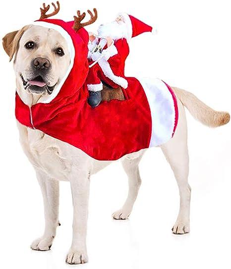 Kyerivs Christmas Pet Costume Running Santa Riding on Dog Pet Cat ...