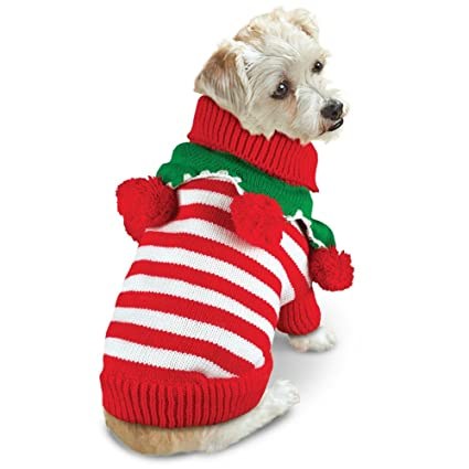 collections etc striped pom pom dog christmas sweater large - Large Dog Christmas Sweaters