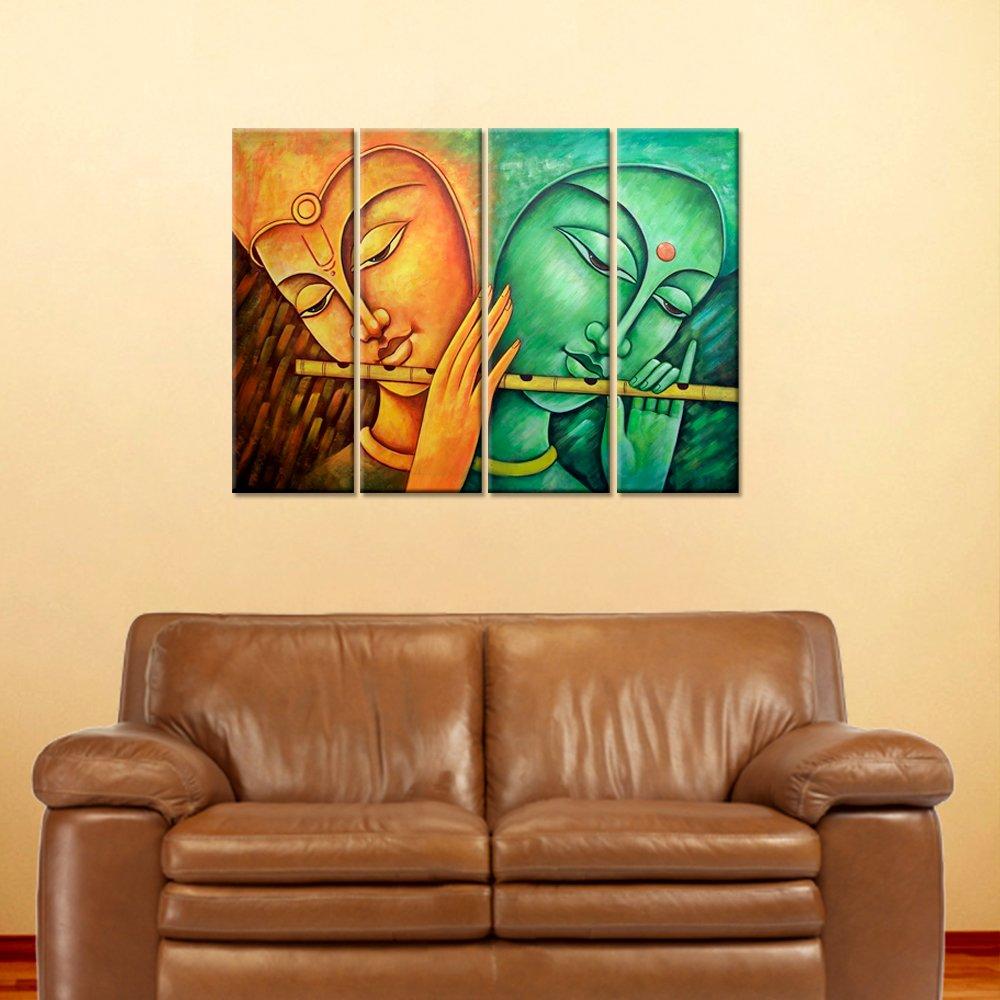 Amazon.com: Wall Mantra 4 Panel Krishna Wall Art Canvas Photo ...