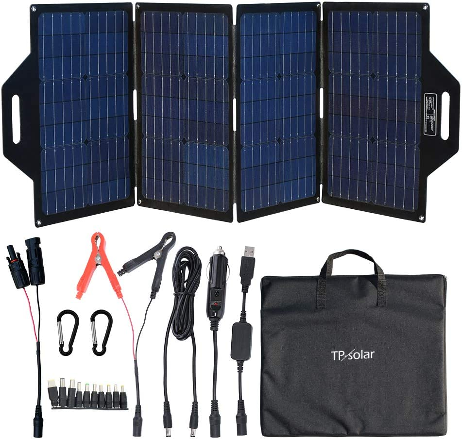 TP-solar 100 Watt Foldable Solar Panel Battery Charger Kit for Portable Generator Power Station Cell Phones Laptop 12V Car Boat RV Trailer Battery Charge (Dual 5V USB & 19V DC Output)