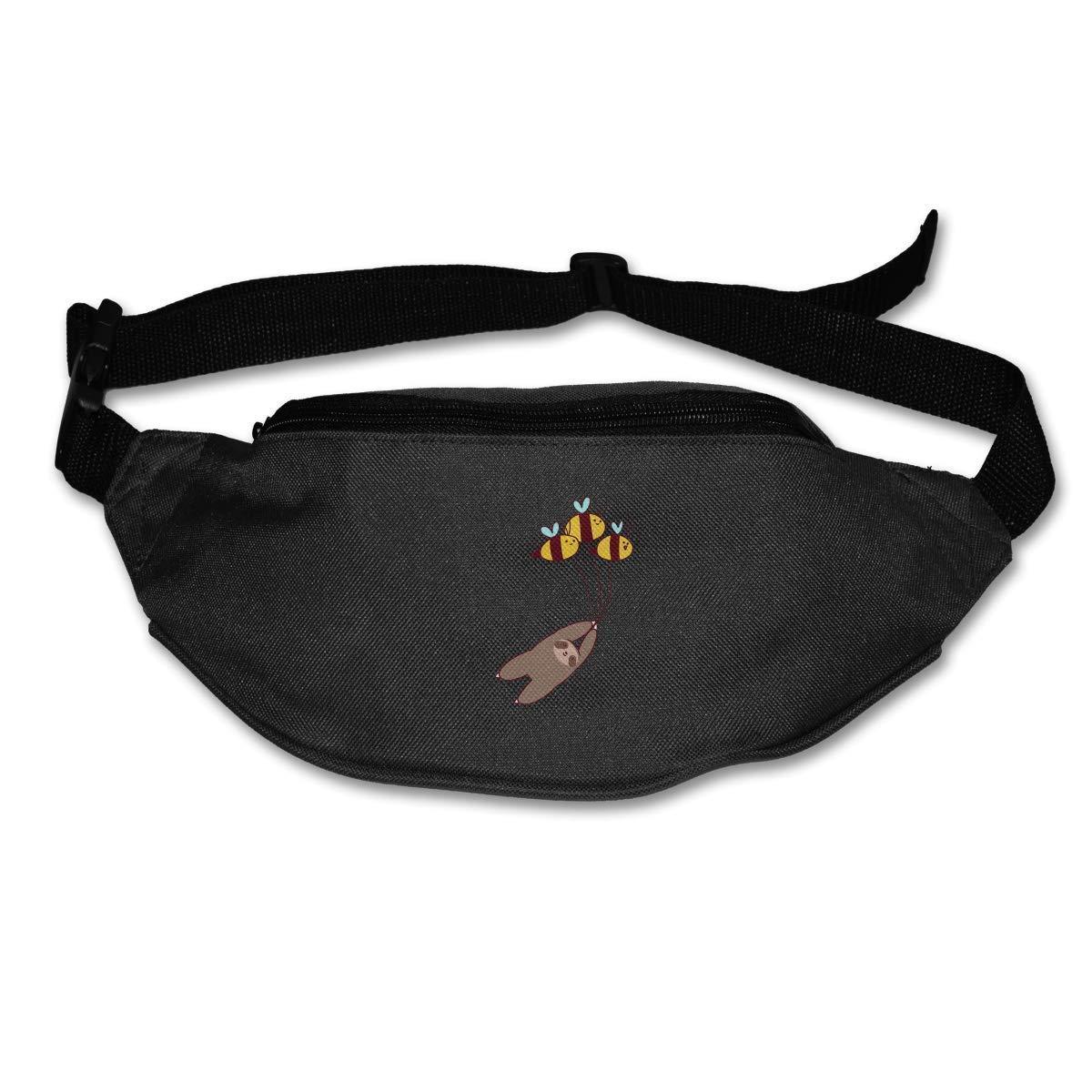 xjh558798 Sloth and Bumble Bees Running orts Waist Bag Zipper Pockets Water