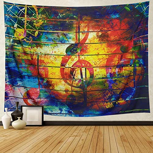 Ameyahud Colorful Music Tapestry Ethnic Musical Note Tapestry Wall Hanging Psychedelic Bohemian Mandala Wall Tapestry Decor Bedroom Living Room Dorm