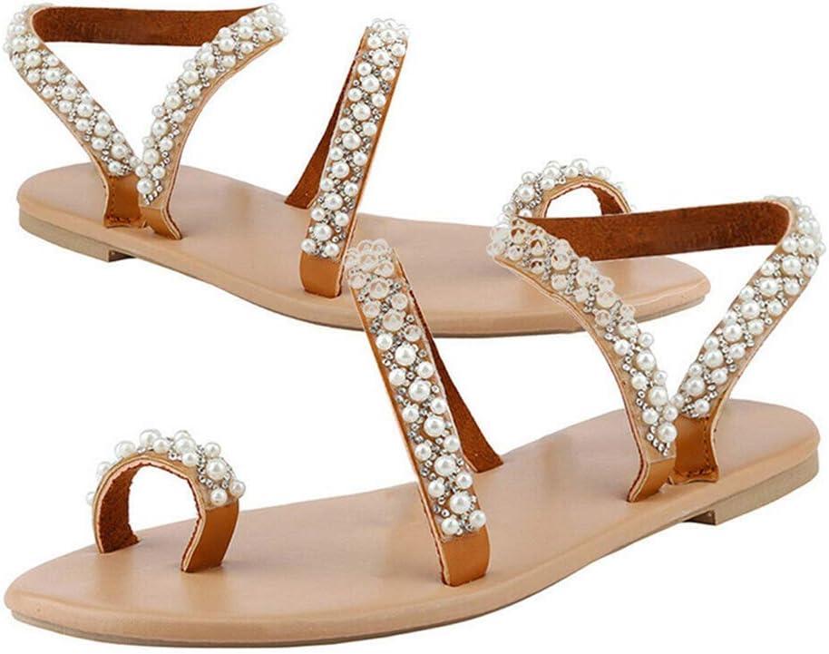 Syfinee Mujer Boho Cristal Sandalias Cruzado Anillo para Dedo Sandalias Planas para el Verano - 40