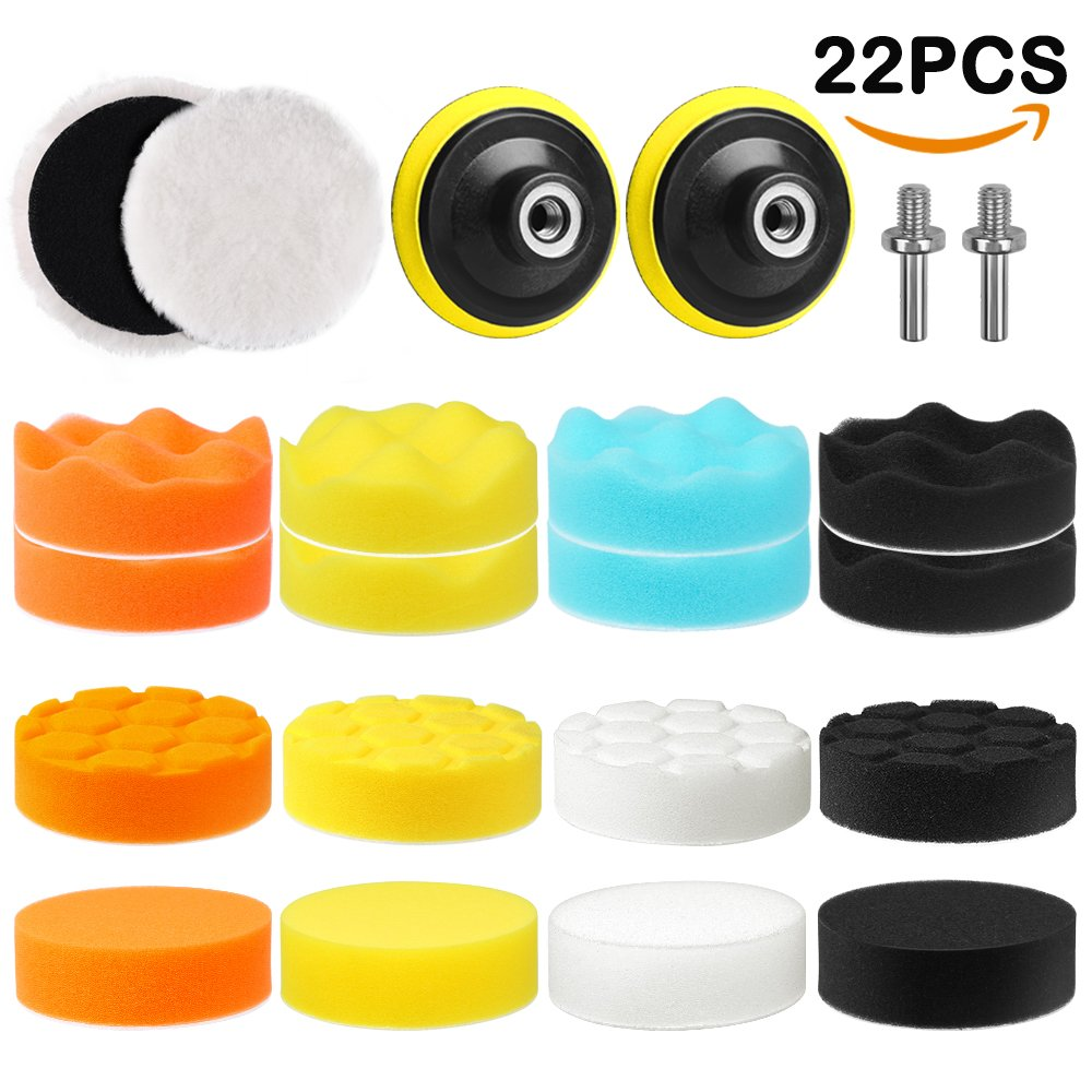 Electop Car Polishing Pad Kit 22 Pcs, 3 Inch Foam Drill Buffing Sponge Woolen Pads for Car Sanding, Buffing, Polishing, Waxing, Sealing Glaze(18 Pads+2 Drill Adapters+2 Suction Cups) by Electop (Image #1)