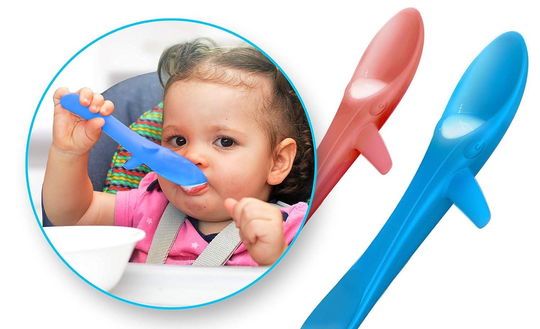 INVENTO Kleckerfreier Baby Lernl/öffel weicher Kinderl/öffel f/ür das sichere selber Essen von z.B als Zweierset aus lebensmittelechten Silikon ideal f/ür BLW Suppen und Brei