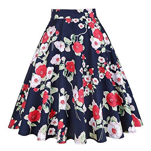 Blue Floral Print Skirt (2017 Blue Red Black Skirt Women High Waist Plus Size Floral Print Polka Dot Ladies Summer Skirts 50s Vintage Midi Skirt VD0020 (XXL, Dark Blue))