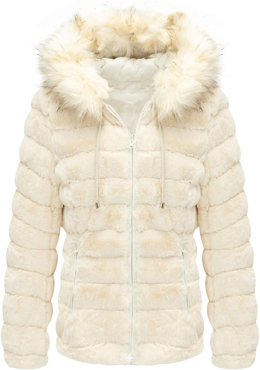 The Coat Worn on Both Sides Bellivera Women/'s Faux Fur Jacket with Fur Collar
