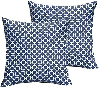 Mozaic Company Indoor Outdoor 16-inch Knife Edge Pillow, Dark Blue Chainlink, Set of 2