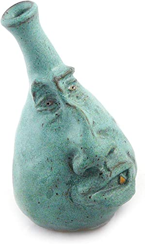 Modern Artisans Whimsical Face Vase, Handcrafted Stoneware Pottery 4.5 Bud Vase – Teal Green Version