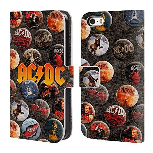 Officiel AC/DC ACDC Logo Épingles De Bouton Étui Coque De Livre En Cuir Pour Apple iPhone 5 / 5s / SE